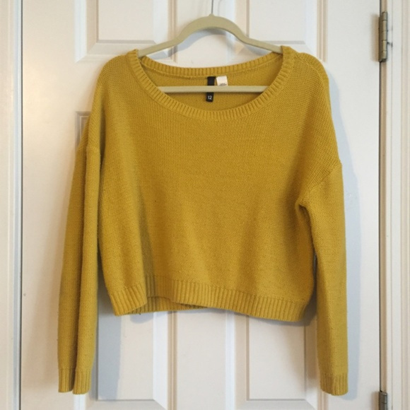 7cf9a338dc86ba H M Sweaters - H M mustard yellow crop knit sweater top