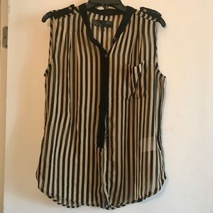 Flowy sheer tank top in brown and black stripes