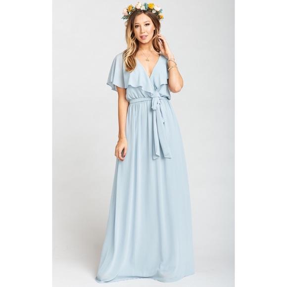 16d46756a82a Show Me Your MuMu Dresses | Nwot Audrey Steel Blue Chiffon | Poshmark