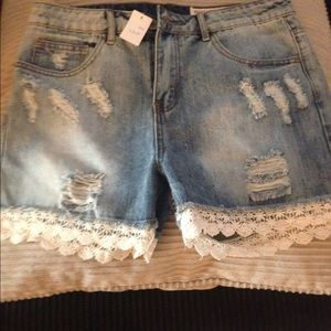 Pants - High waisted lace jeans shorts L BNWT