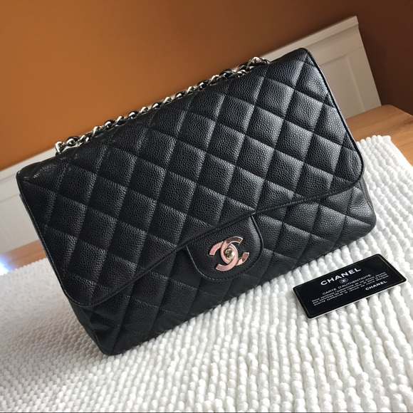 6585d7d23a0a CHANEL Bags | Soldauthentic Cf Jumbo Black Caviar Shw | Poshmark