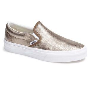 Vans Asher Rose Gold Metallic Slip On Sneaker