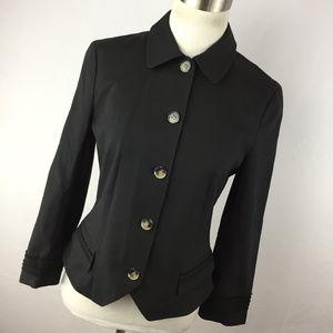 Theory 8 Black Blazer Jacket Button Down Front L/S