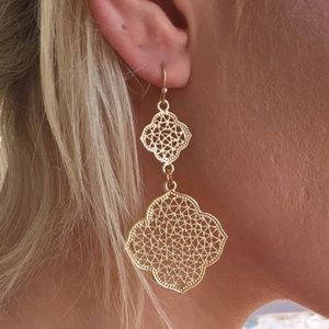 Gold Filigree Clover Dangle Earrings in Rose Gold