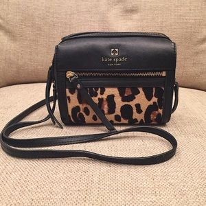 Kate Spade Looloo black and leopard cross body