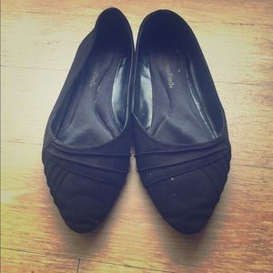 Pointy Black Suede Flats (Size 6.5) - DONATED