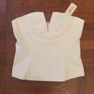 NEW Forever 21 White Strapless Zip Back Top Medium