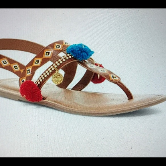 edf9c16b5d62 🎁Mia Sara Blue   Red Pom Pom Leather Sandal