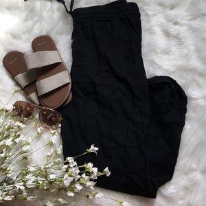 Old Navy Linen Flowy Black Beach Pants