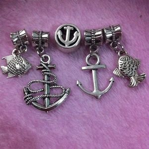Accessories - Tibetan Silver Anchor, Fishes Dangle Charm a lot