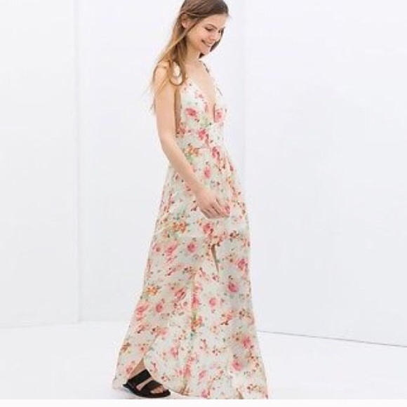 0d749fcc ZARA floral maxi dress with front slit
