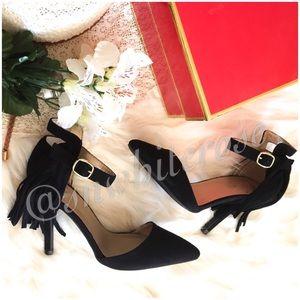Black Fringe Ankle Strap Heels