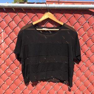 Mesh striped black crop top