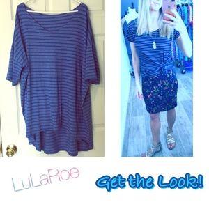 LuLaRoe VNECK Irma Tshirt Blue Strips 3X