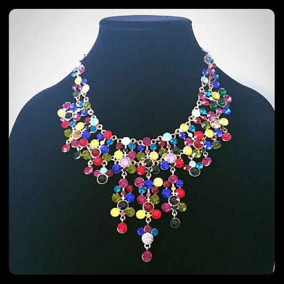 Natasha Jewelry Statement Necklace Multi Color Stones