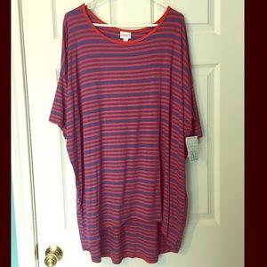 LuLaRoe Irma Tshirt Red Blue 2X NWT Stripes
