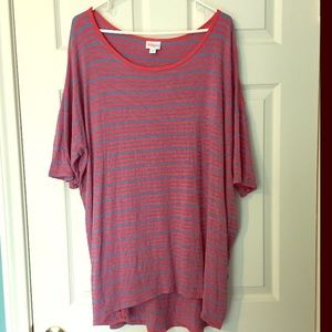 LuLaRoe Irma Tshirt Coral & Blue Stripe 2X worn 1x