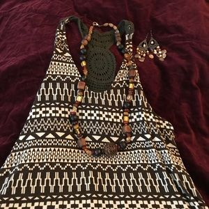 Tribal Print Boho Festival Tank Top Crocheted Back