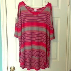 LuLaRoe VNECK Irma Tshirt Stripes 2X