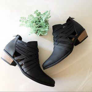 Strappy Black Ankle Bootie With Low Heel