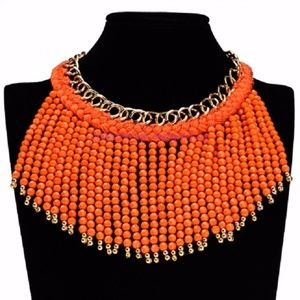 Jewelry - Women's Trendy Fringed Bib & Bead Chain Necklace