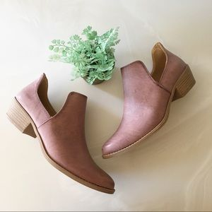 Dusty Mauve Slip-On Ankle Booties
