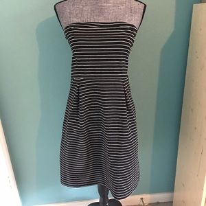 Old Navy Strapless Dress Small Black White Stripes