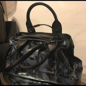 Handbags - Blue fatigue design in patent w/ silver grommets