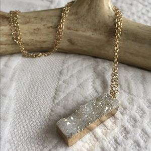 Natural Stone Necklace With 14k Gold Plate