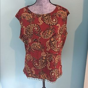 Coldwater Creek Beaded Sleeveless Top Lg Stretch