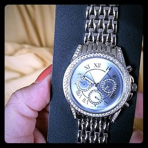 Accessories - Plus size silver watch with rhinestones