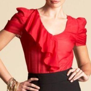 ⚡️bebe Red Ruffle Silk Blouse