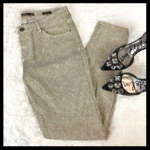 zara // damask jacquard slim fit tan skinny jeans