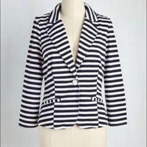 Modcloth Blue & White Stripe Blazer XS