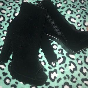 Velvet Peep Toe Heels