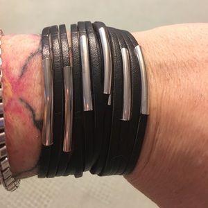 Jewelry - Fashion silver & leather like cuffs