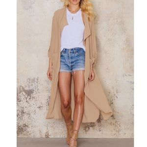 Long Sheer Trench Coat- NUDE