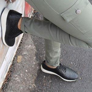 Vince Black Snake-Embossed Rayner Sneaker