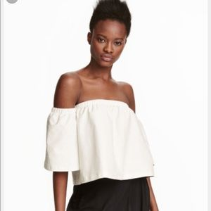 H&M White Off the Shoulder Top