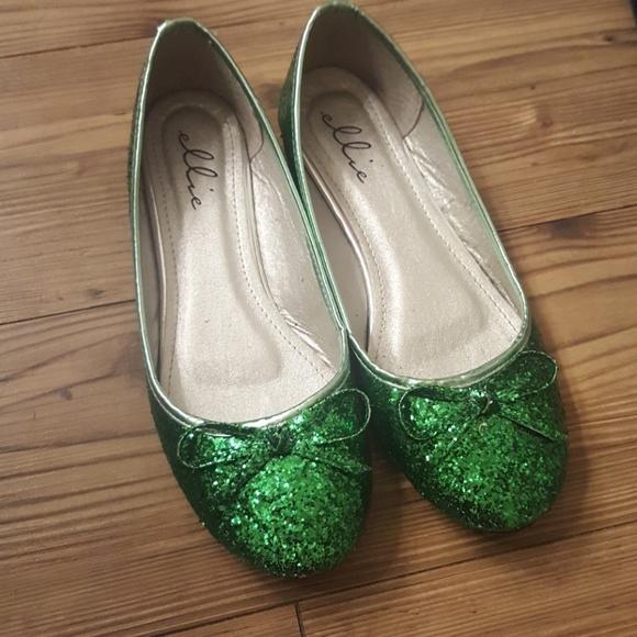 81b11ed50a04 Elle Shoes - Sparkly Green Ballet Flats