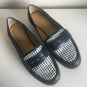 Tommy Hilfiger navy gingham loafers size 6