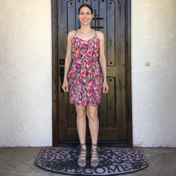 Bar III Dresses & Skirts - Bar III Floral Silk Ruffle Detail Dress M