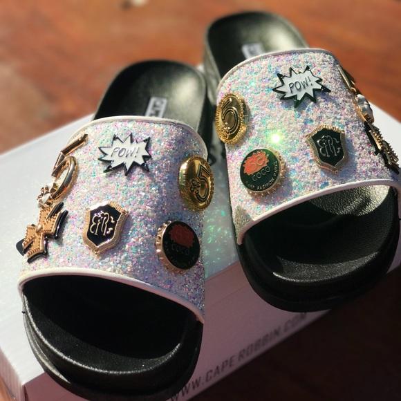 224935ac859f White Studded Glitter slides