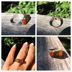 Jewelry - Amber Multicolor Honey &Green Sterling Silver Ring