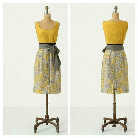 d526c81c8b0a Anthropologie Dresses & Skirts - Edme & Esyllte yellow gold floral fitted  ...