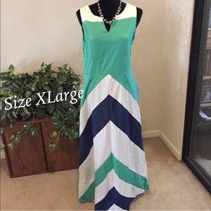 Dresses & Skirts - ✨Chevron Stripe Color Block Maxi Dress, Dark Blue