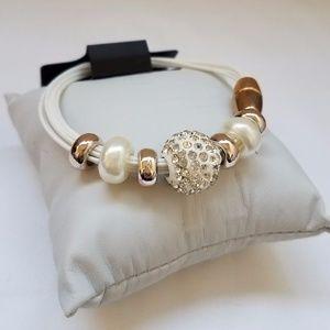 Women's Clear Crystal & White Beaded Bracelet