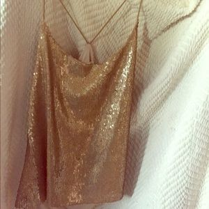 Tops - Gold sequin camisole
