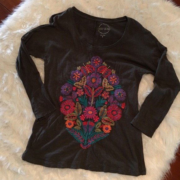 3ea00417986 Lucky Brand Tops - Lucky Brand Embroidered Floral Bouquet Tee