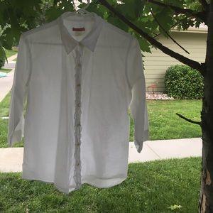 J Crew white size L ruffle blouse.
